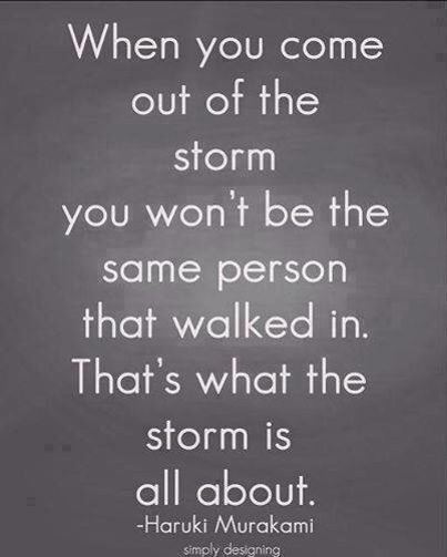 When you come out of the storm, you won't be the same person that walked in.  That's what the storm is all about.