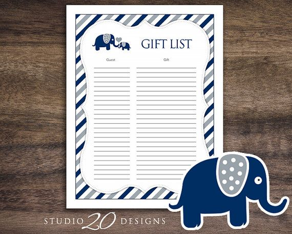 Instant Download Navy Elephant Baby Shower Gift by Studio20Designs