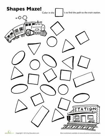 Worksheets: Choo Choo Train Shape Maze