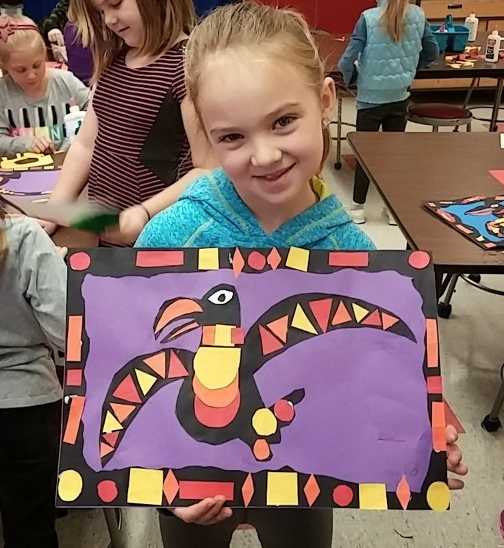 """Second graders made these awesome raven collages after learning a bit about the Native Americans of the Pacific Northwest. We started by reading the story """"Raven: A Trickster Tale from the Pacific No"""