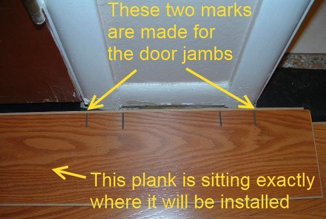 Hallways Installing The Last Row Of Laminate Flooring In Hallway Under Door Jamb Requires That You Mark Where The Door Jam Laminate Flooring Laminate Flooring