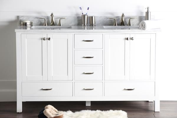 Abigail 60 Naos Bright White Bathroom Vanity Double Sink With