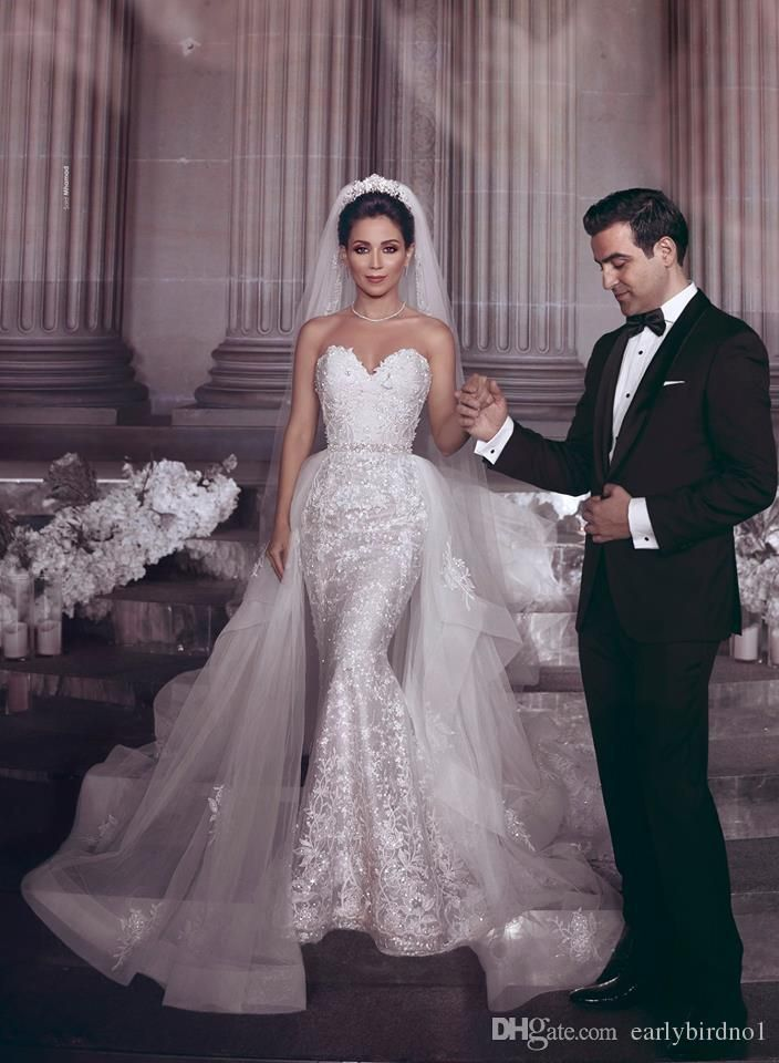 2019 New Sweetheart Lace Mermaid Wedding Dresses Appliqued Tulle Backless Plus Size Wedding Bridal Gowns robe de mariée