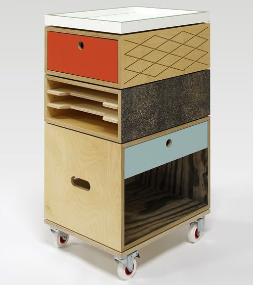 Who knew a filing cabinet could be playful? Trolley Filing Cabinet by graphic design duo Jan & Randoald. Half natural wood, half patterned veneers.