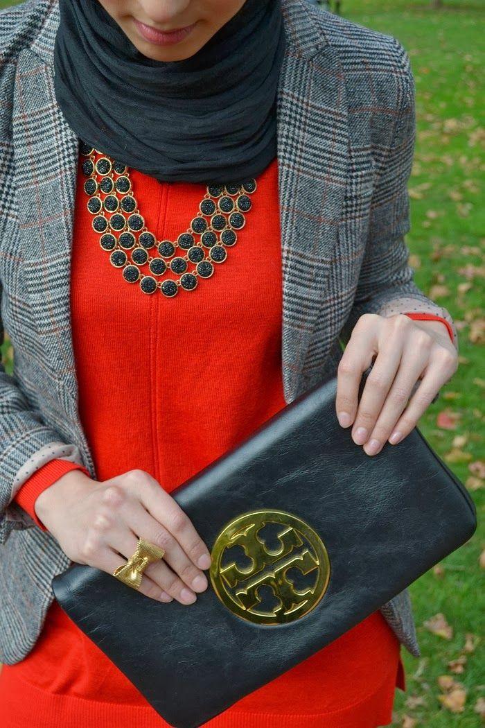 golden heel, fall fashion, hani hulu, hijabi fashion, modest fashion, accessories, tory burch, statement necklace, hijab