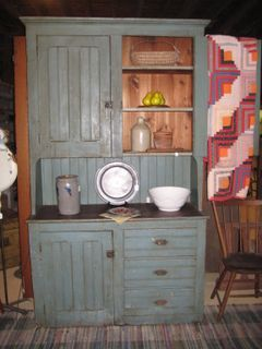 Primitive Blue Stepback Cupboard...put wainscoting between my upper and lower cupboards to unify and maybe paint the upper red and lower left natural.