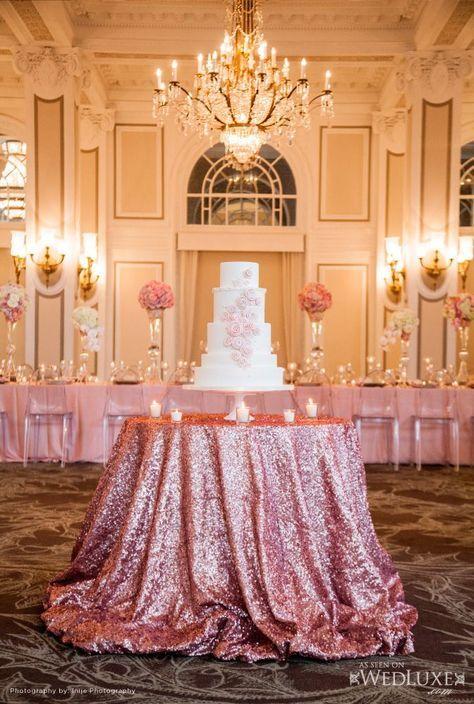 photo: Inije Photography via WedLuxe; Glamorous wedding cake table idea
