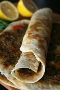 Turk (turkish) lahmacun (Pizza) sıvamış (Rolled Up)