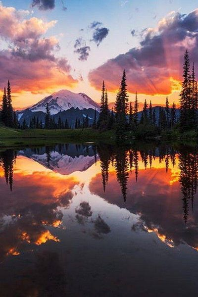 Mount Rainier reflected perfectly and beautifully in Tipsoo Lake at sunset, Washington