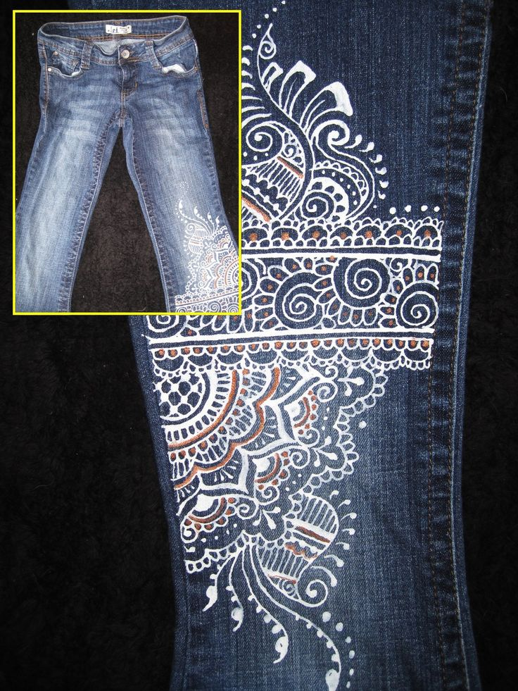fabric painted jeans - use celtic patterns or,henna patterns to make the designs