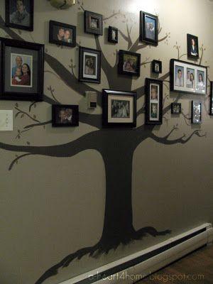 Family Tree Wall Mural! Neat way to display family photographs. #Painting #Decor