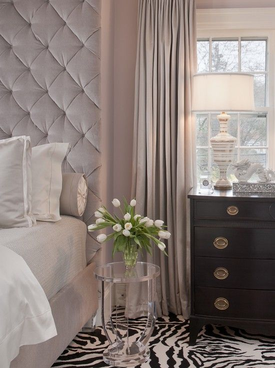 Soothing color: Idea, Color, Bedrooms Design, Tufted Headboards, Interiors, Zebras Rugs, Master Bedrooms, Animal Prints, Upholstered Headboards