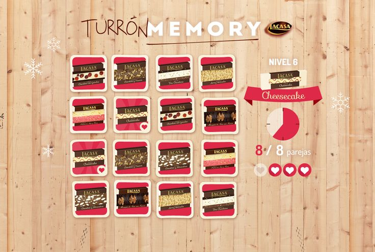 """CHOCOLATES LACASA · Newsletter to launch the 2015 Christmas promotion """"TurrónMemory"""". A Mobile-First, Gamification-based memory game based around their new Christmas nougats. Detail of Level 6. http://www.lacasa.es/turronmemory/"""