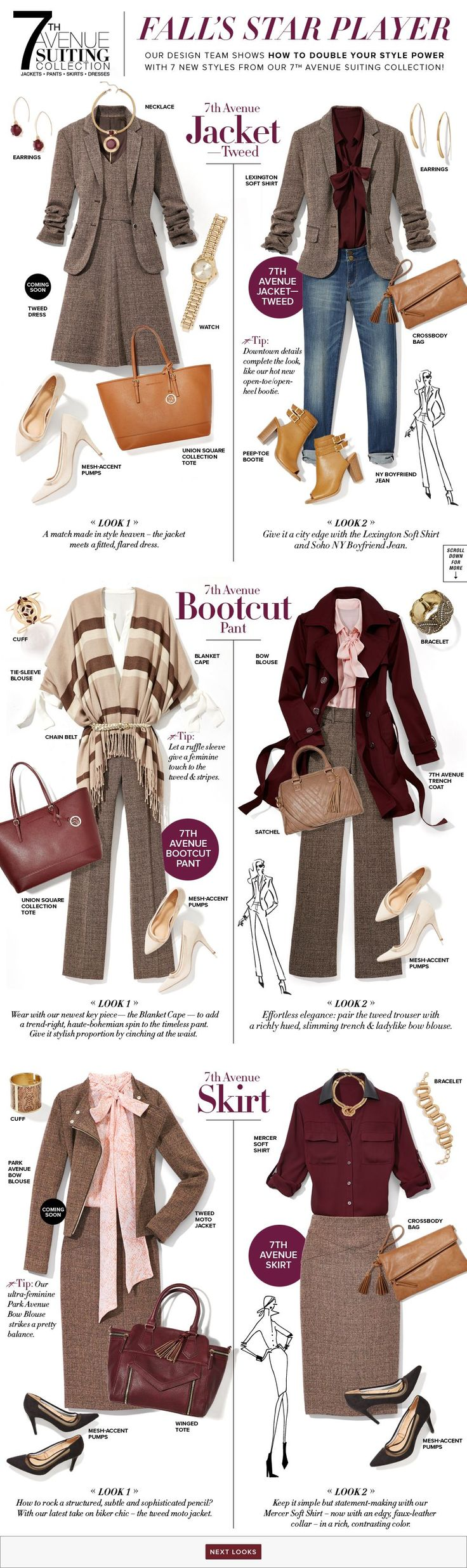 Love the tweed dress and the bottom right look.