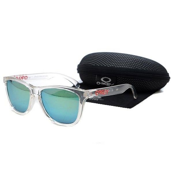 $12.99 Oakley Frogskins Sunglasses light blue lens clear white frames-39668  Deal Extreme www.