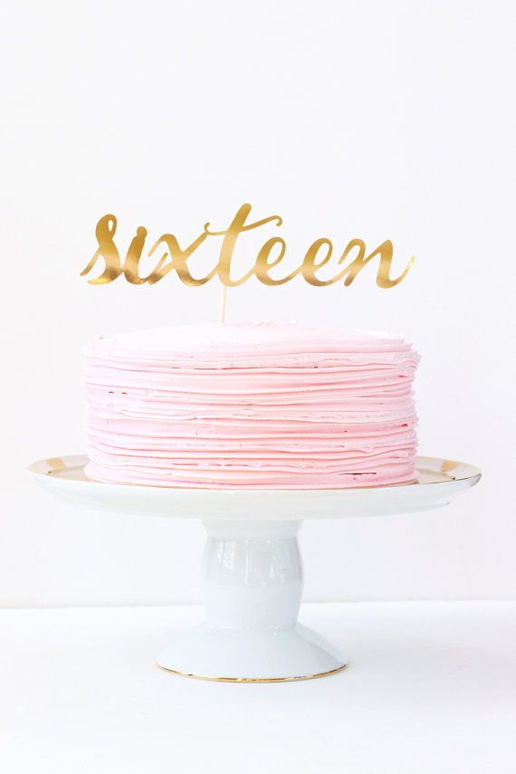 Sweet Sixteen Cake Topper Gold Number Cake by WhenitRainsPaper