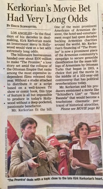 The Wall Street Journal Article about Kerkorian's The Promise #wsj #kerkorian #thepromise
