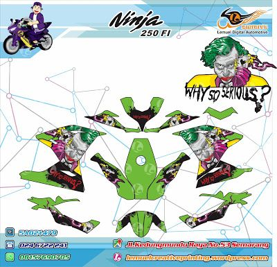 Custom Decal Vinyl Full Body Striping Motor Kawasaki Ninja 250FI Thema Green Joker Berkualitas