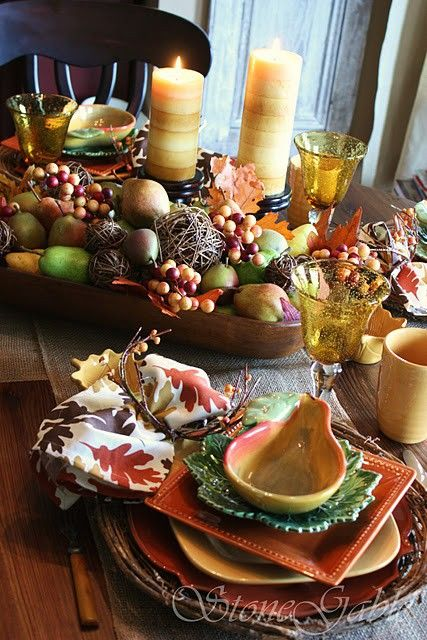 Fall Table Decorating Ideas...there are 67 awesome tablescapes on this blog...Shelterness.