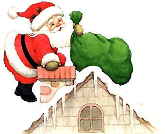 Santa op dak met groene zak