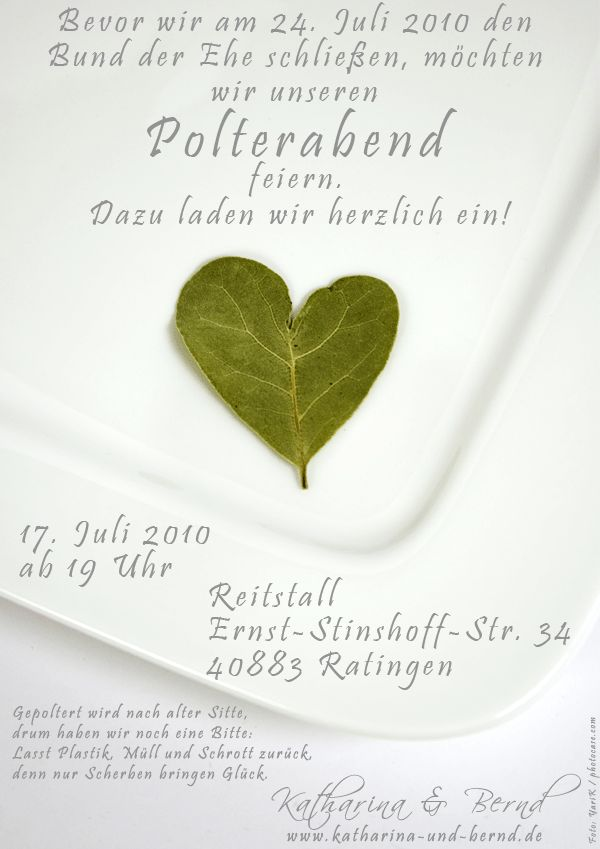 Einladung polterabend | Polterabend/ Wedding eve party | Pinterest