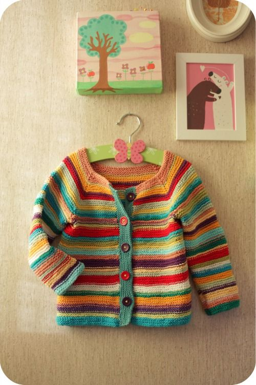 baby cardi with color stripes