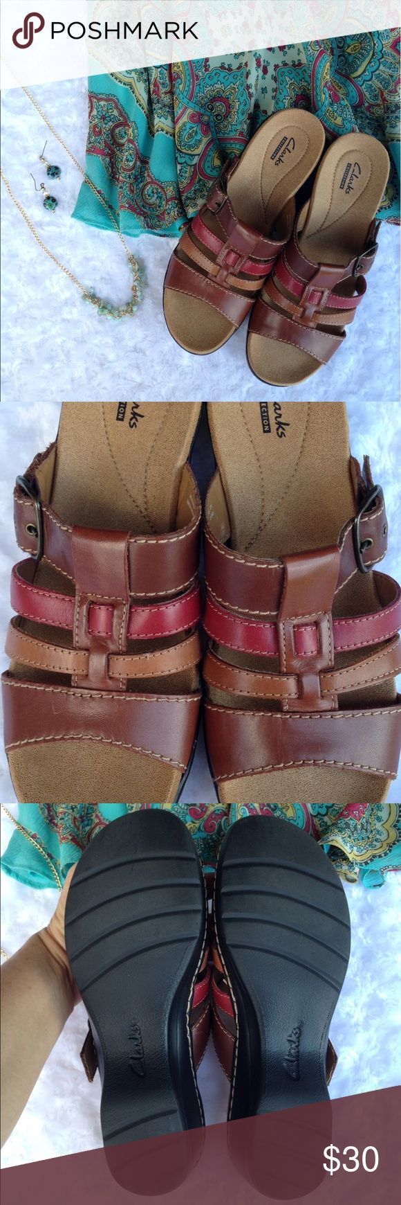 """Clarks Sandals Brown & Pink These Clarks sandals are so cushiony and comfortable with shades of brown and a darker pink. Pre-owned in like-new condition. Where your foot sits measures approx 10"""" and heel height 2"""". You can bundle with the other pair to save $, honey. Thank you for looking and sharing. Clarks Shoes Sandals"""