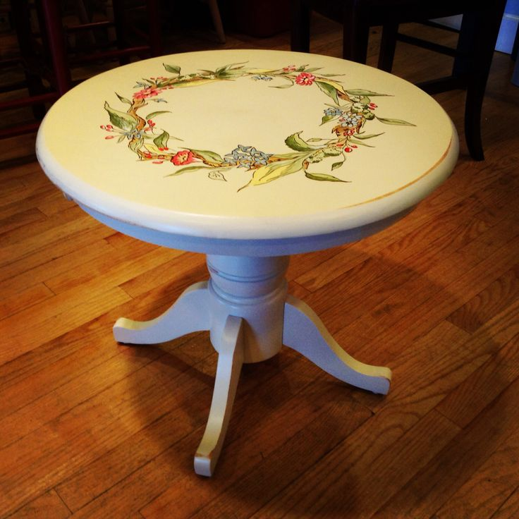 Small Round End Table Hand Painted Handpainted Furniture Furniture Real Wood Furniture