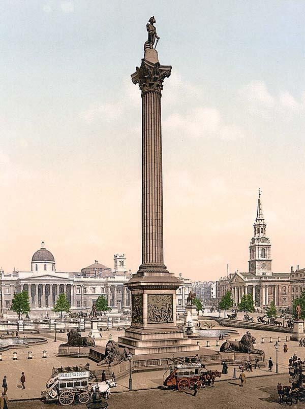 Trafalgar Square and National Gallery, London, England, between 1890 and 1900