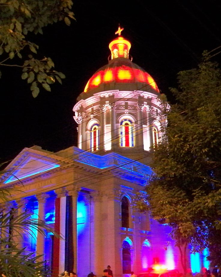 Panteón de los Héroes, Paraguay, lit for its' Bicentennial. The National Pantheon of the Heroes is a landmark in Asunción, and a national monument of Paraguay.