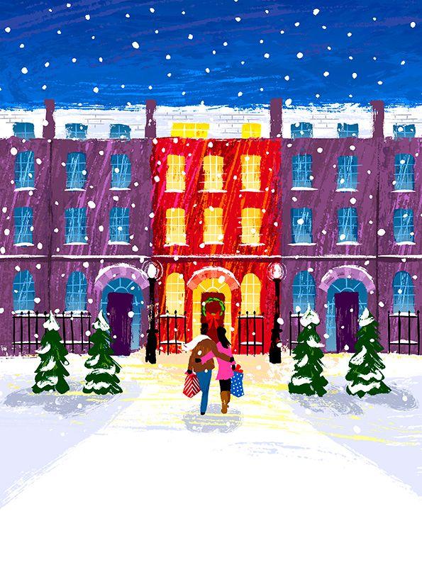 #michaelcrampton #meiklejohn #illustration #digital #stylised #snow #couple #christmas