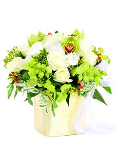 Gift Ideas - Easter Flowers: Flower Vase - White Roses and Orchids!