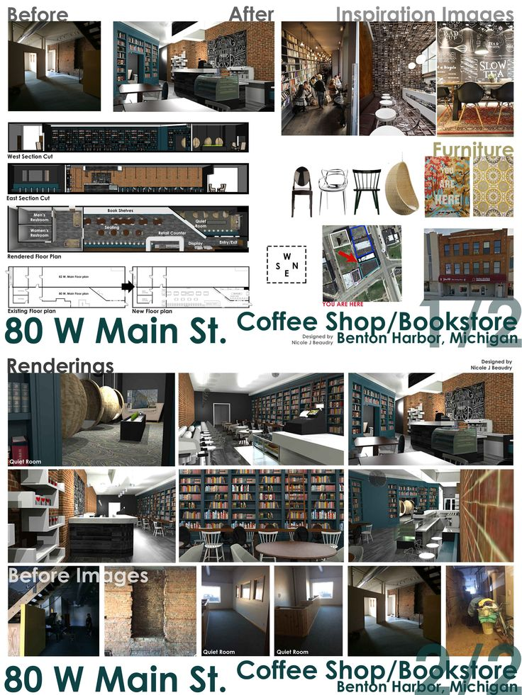 Interior Design Project Boards | Michigan State University Adaptive Reuse  Project | Coffee Shop U0026 Bookstore