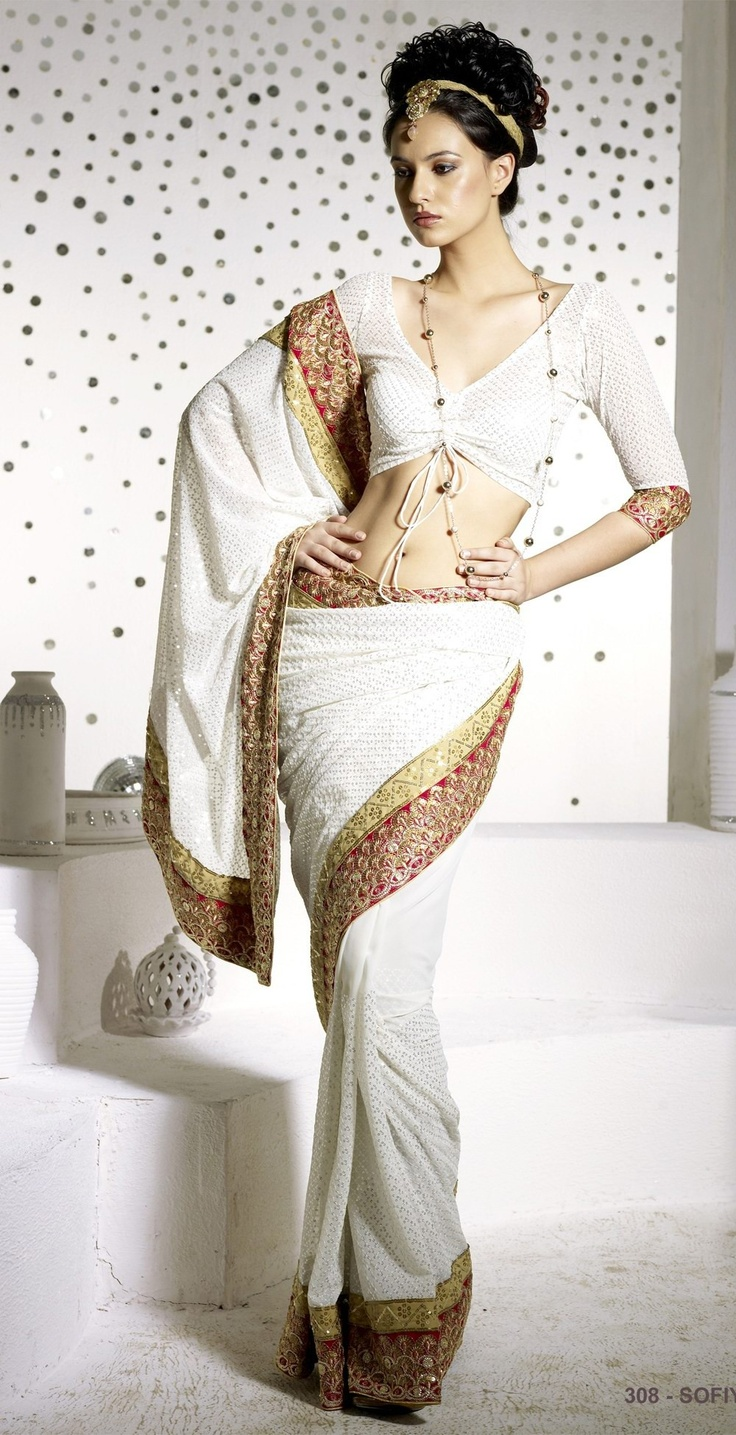 Wild Sand White Georgette Saree