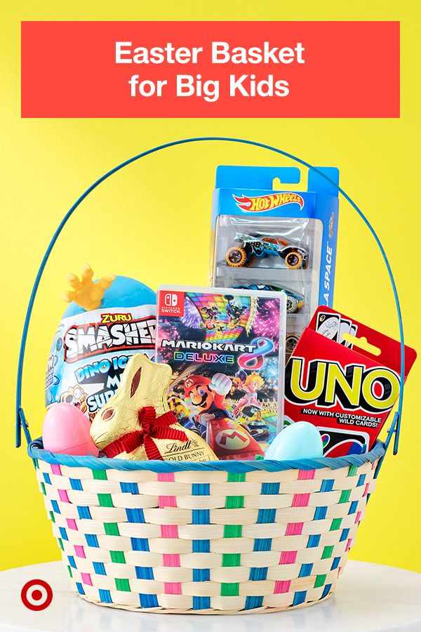 For Game Loving Kids Create A Perfect Basket With Uno Hot Wheels Smashers And A Mario Kart Video Ga In 2021 Candy Easter Basket Easter Gift Creative Easter Baskets