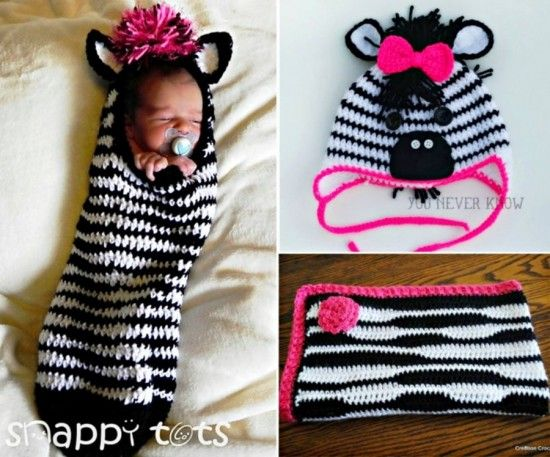 Zebra Crochet Projects including Zebra Baby Cocoon, Zebra Hat and Zebra Blanket - find free patterns on our site.