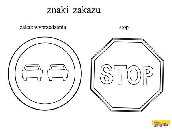 Znaki drogowe - kolorowanki dla dzieci