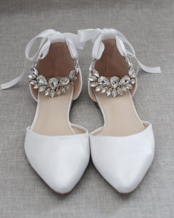 White Satin Pointy Toe Flats With Pear Cluster Rhinestones Etsy In 2020 Bridesmaid Shoes White Bridal Shoes Classic Wedding Shoes