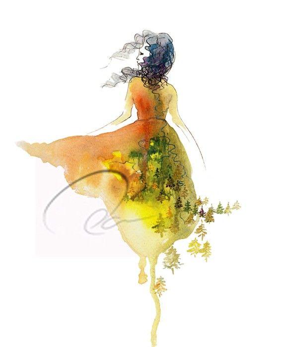 Don't Look Back  Fine Art Print free spirit woman by oladesign, $25.00
