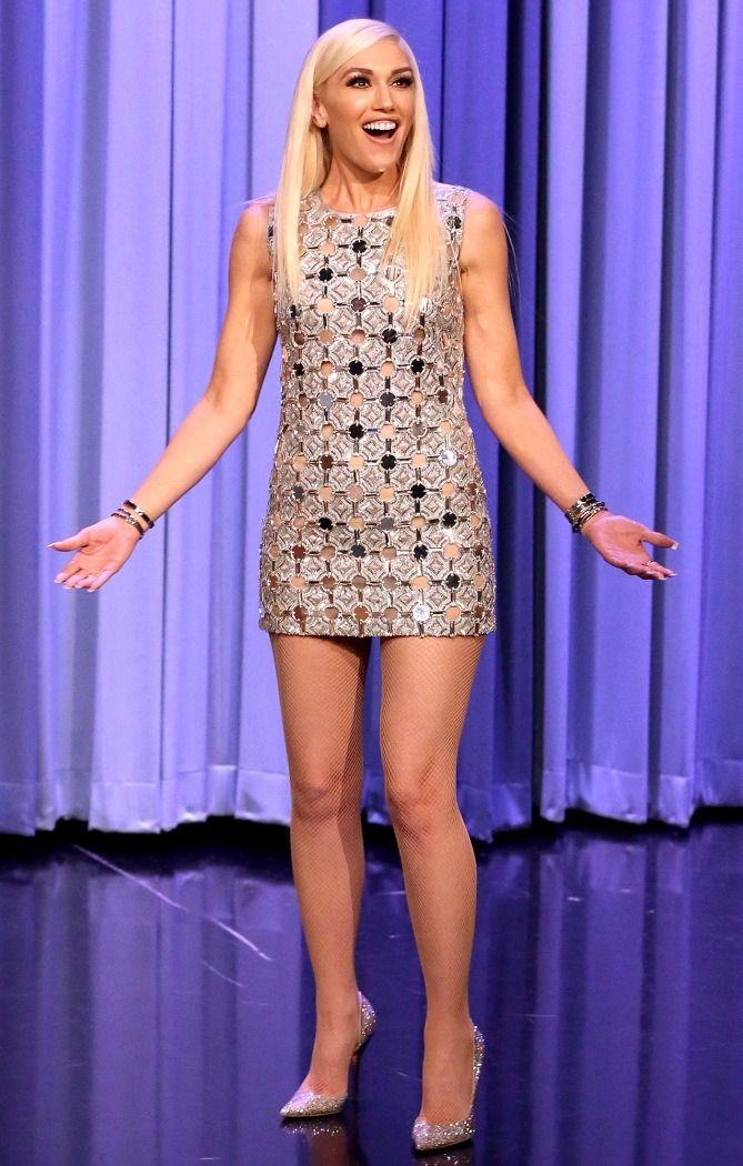 Gwen Stefani in a silver see-through mini dress