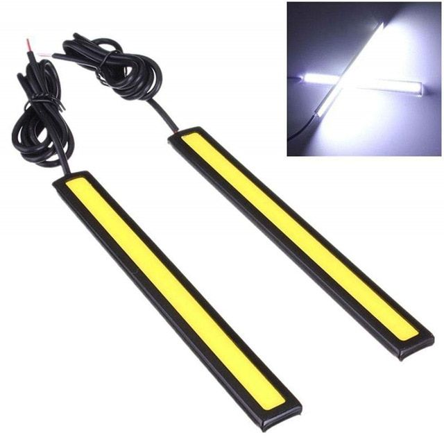 2pc Ultra Bright Led Strip Light 12 Volt Cob Led 17cm Universal Daytime Running Lights Auto Waterproof Led Drl Led Strip Lighting Strip Lighting Waterproof Led