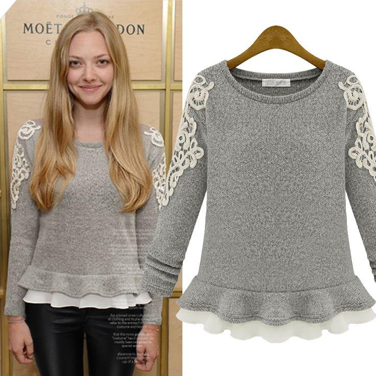 2014 Outono-Inverno Bordado Lace O pescoço saia pulôver feminino curto design slim Cashmere Tops # 01553 14.66
