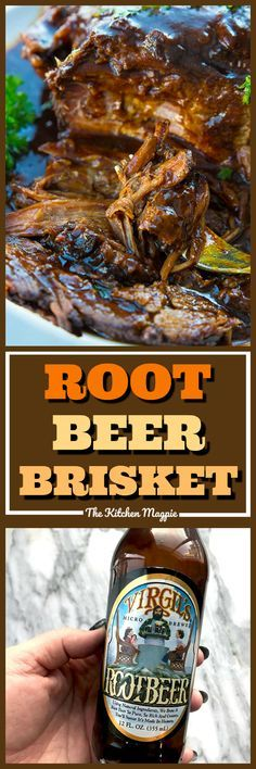 Root Beer BBQ Slow Cooker Brisket will thrill kids and adults alike! Using root beer and BBQ sauce together makes this the easiest and tastiest slow cooker brisket you'll ever have! Put this on your permanent dinner rotation list!  #brisket #rootbeer #slowcooker #crockpot