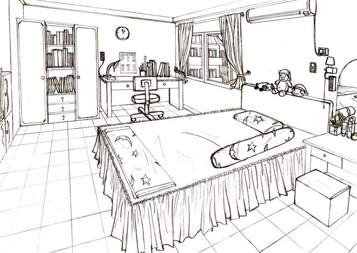 Best Perspective Drawings Bedroom Images On Pinterest