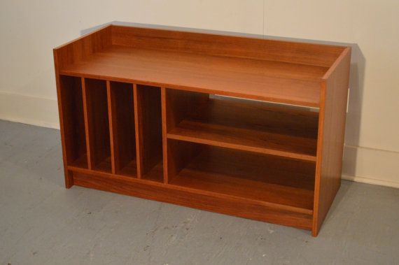 Teak Record Storage Console Danish Modern Vintage Furniture Record Player Tv Stand