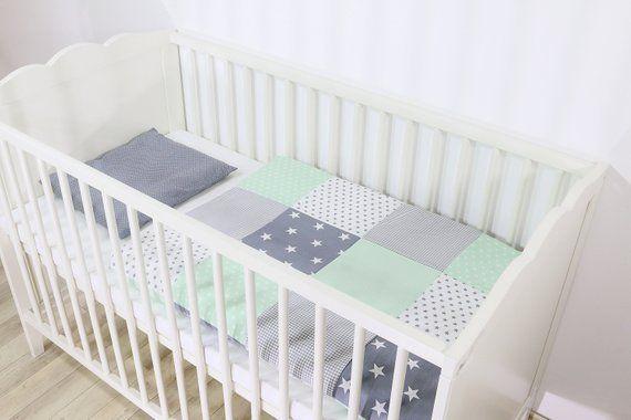 Ullenboom Baby Bettwasche Bettbezug Set 80 X 80 Cm Mint Grau