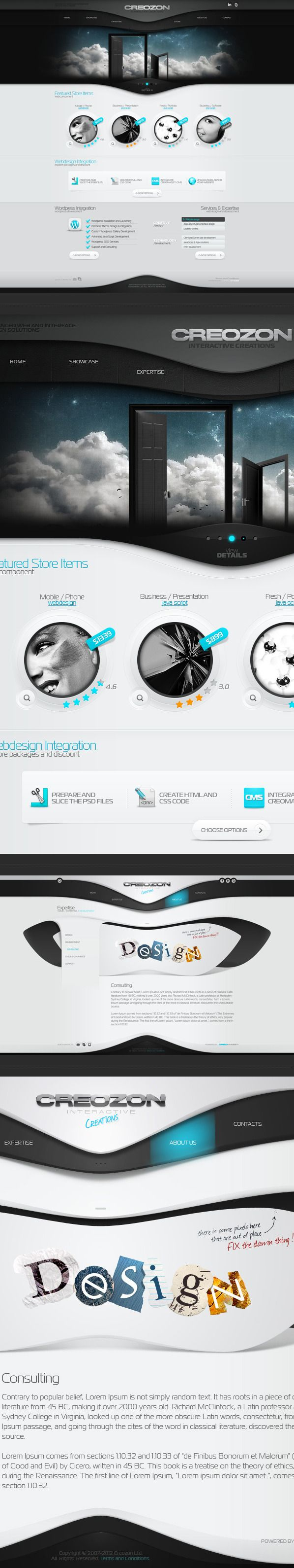 Creozon website by Tsvetelin Nikolov, via Behance