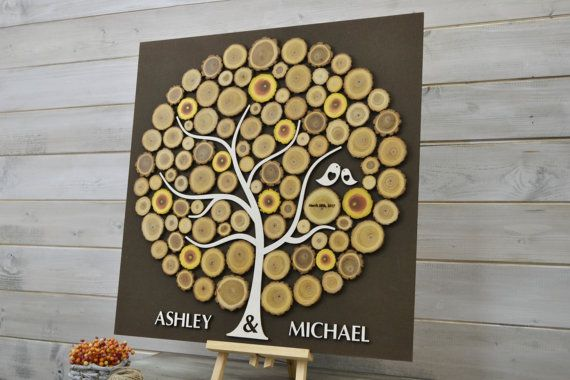Custom Colors 3D Wedding Guest Book Alternative Tree wood slices Rustic wedding Rustic guest book Unique guestbook wooden Tree of life Wedding gift Wedding Tree Guest Book This wedding guest book alternative is a modern and unique way to preserve memories from all the guests at your