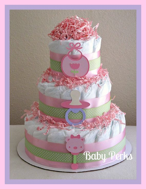 Baby Girl Diaper Cake Pink And Purple Baby Shower Decorations Pink And G