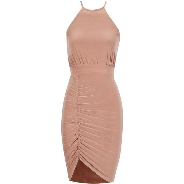 Ruche Slinky Cross Back Dress in Rose Gold found on Polyvore featuring dresses, rouched dress, criss cross back dress, criss-cross back dresses, shirring dress and ruched cocktail dress